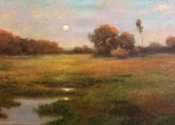 SOLD - Moonrise Massachusetts Saltmarsh, 24 x 36