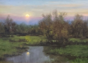 Spring Pasture at Moonrise, 12 x 24